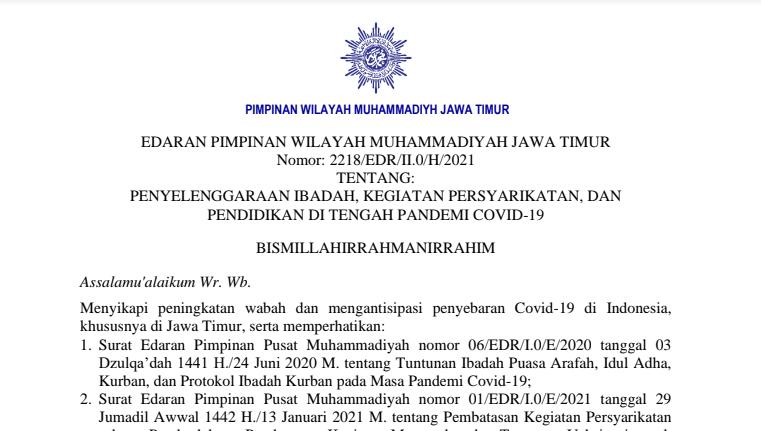 Surat Edaran PWM Jawa Timur Tentang Kegiatan Ditengah Covid-19